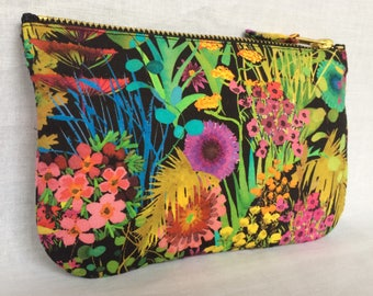 Liberty Purse Tana Cotton Lawn 'Tresco' in multicolour and black, make up bag, clutch, pouch or wristlet. Liberty of london.