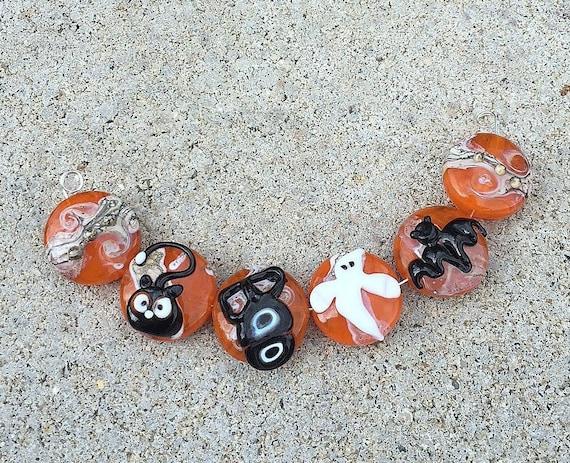 Handmade glass pendant lampwork bead bat sra