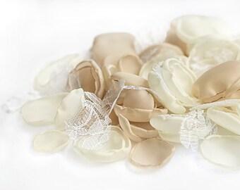 Handmade flower petals - silk petals, beige petals, white petals, wedding petals, wedding decor, toss petals, flower girl petals