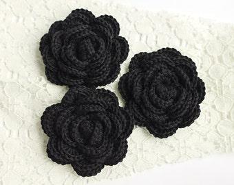 Crochet roses - black crochet flowers, wedding flowers, wedding decorations, applique flowers, sew on flowers, shabby chic flowers
