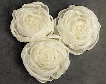 Fabric Flowers - cream flowers, handmade fabric flowers, wedding flowers, wedding decor, artificial flowers, DIY wedding, bridal flowers