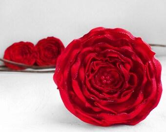 3 Big handmade red fabric flowers