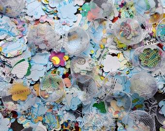 Handmade fabric and paper flower petals - white and blue petals, organza and lace petals, map petals, wedding toss petals, wedding confetti