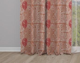 Tribal Marks Print Drapery Window Curtain Single Panel - Red/Coral
