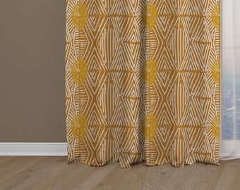 Tribal Marks Print Drapery Window Curtain Single Panel - Yellow