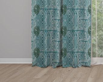 Tribal Marks Print Drapery Window Curtain Single Panel - Blue/Green