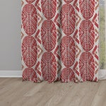 Red Blackout Curtains, African Masks Print, African Print Curtains, African Masks Print Curtains