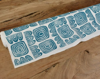 Hand Block Printed Home Decor Fabric Linen Rayon Turquoise Blue