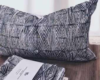 Tribal Marks - Black Hand Block Printed Pillow Cover Lumber or Square