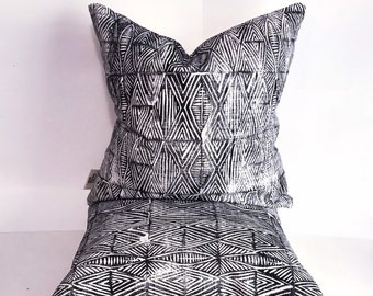 Home decor square and lumbar rectangular pillow - block printed pillow cover Tribal Marks - Black and white monochrome neutral