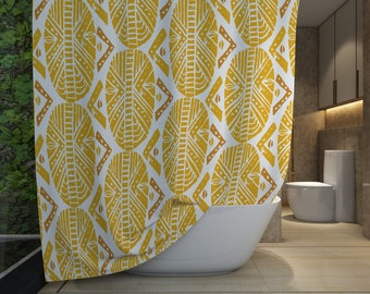 African Masks Shower Curtain - Yellow