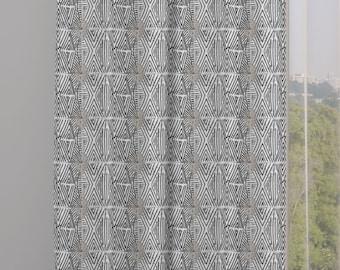 Tribal Marks Print Drapery Window Curtain Single Panel - White on Black