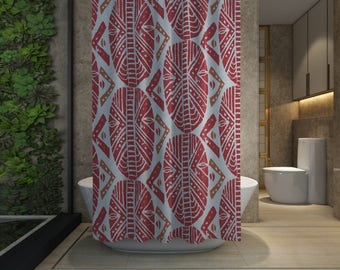 African Masks Shower Curtain - Red