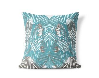 Kara Pillow - Blue, Gray, Neutral
