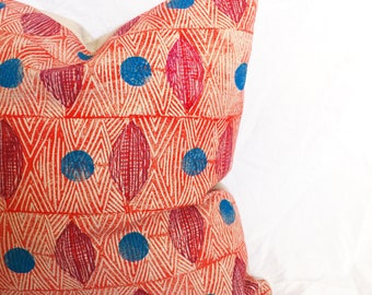 Coral, Red, Blue African Print Pillow Cover - Tribal Marks