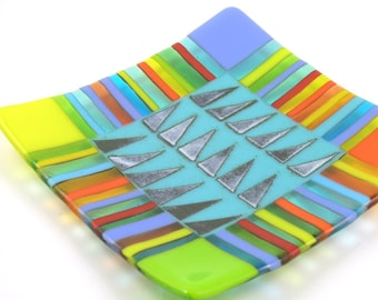 Sol - Bright Sun-filled Art Glass Platter - Brilliant strips of Festive Colors Border a Hand Powder Printed Turquoise Center - Fiesta Series