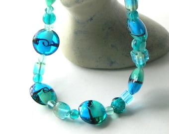 Sea meets Sky Necklace  Aquamarine Sky Blue Aqua Tint  Handmade Glass Sterling Silver