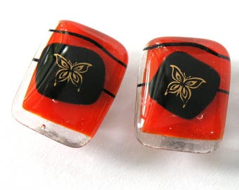Scarlet Clip On Earrings - Gold Butterfly Accent - Bittersweet Red and Black - Modern Glass - New Classic Jewelry