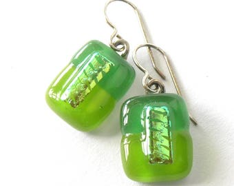 Emerald and Spring Green Drop Earrings - Fused Glass Gems -  Sterling - Spring all year long - Wear your green