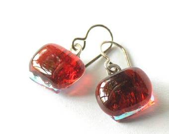 Garnet Tinies -  Petite Fused Glass Drop Earrings - Sterling Silver - Luscious Little Earrings - Dark Cherry Earrings - Dichroic Undertone