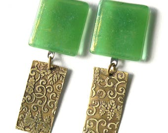 Soft Green Glass and Etched Brass Clip On Earrings - Mixed Media Clip On Chandelier Earrings - Stylish Modern Fused Glass Clip Earrings