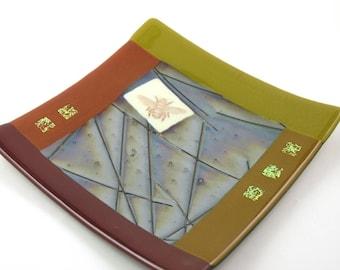 Autumn Art Glass Plate - Iridescent Chopsticks Glass - Vintage Bee Graphic - Autumn Wedding -  Golden Green Decor