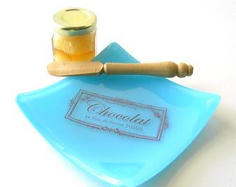 Chocolat Blue Glass Dish - Kiln Formed Glass - 14 Rue de Sevres PARIS - Hostess Gift -  Paris Memento Dish - Vintage French Graphic Design