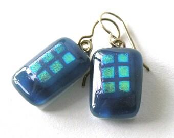 Steel Blue Drop Earrings - Atlantic Ocean Glass - Blue Grey Glass Jewelry - Gold Accents  - Larkspur Blue - Sapphire Blue Earrings