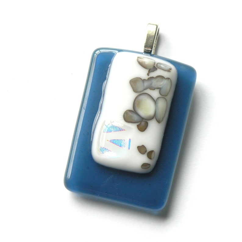 River Rock Pendant Silver Chain Option Moroccan Blue Glass Pendant Fused Glass Abstract Reactive Glass Pendant Dichroic Accents