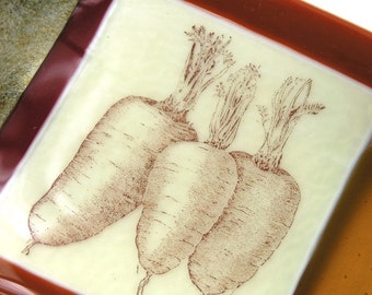 Vegetable Love - Fused Glass Dish . Vintage Print of Carrots - Vintage Graphics - Autumnal Art Glass Dish