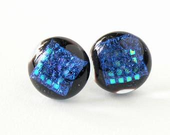 Lush Cobalt Blue Glass Post Earrings - Shimmering Rich Deep Blue Earrings - Shimmering Dichroic Patterns