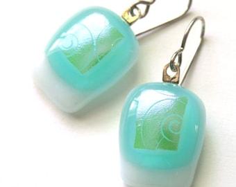 Dreamy Ocean Drops - Fused Glass Earrings - Opalescent Turquoise - Aqua Lovelies -  White and Seafoam