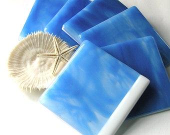 Dazzling Blue Drinks Coasters - Fused Glass Ocean Decor - Blue Skies - Perfect Day  - Beach Home Decor - Bleu Ciel