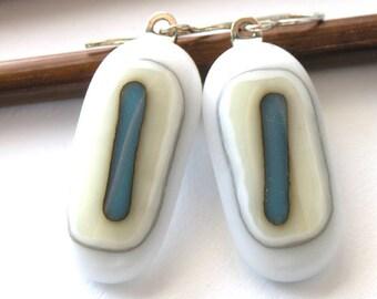 Winter White . Ocean in Winter . Fused Glass Earrings