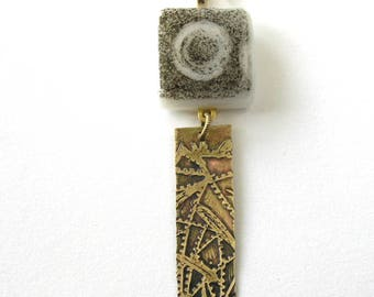 Phantom Moon Pendant Necklace - Fused Glass Etched Brass Pendant - Eclipse Pendant  -  Dark & Stormy Night - Mixed Media Pendant Necklace