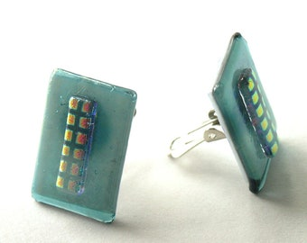 Shimmering Steel Blue  Glass Clip On Earrings - Dichroic Patterned Elements - Deep Understated Aquamarine Glass