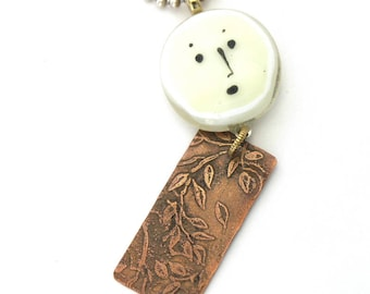 Pensive Face Pendant - Mixed Media Necklace -  Fused Glass and Etched Copper Pendant - Ivory and Copper