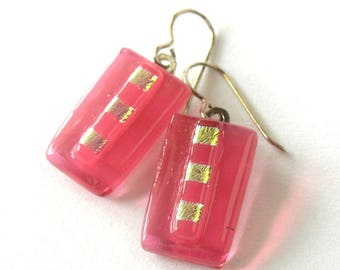 Pale Pink Drop Earrings - Rose Colored Glass - Cerise Glass Jewelry - Gold Accents - Ruby Pink Tint Earrings