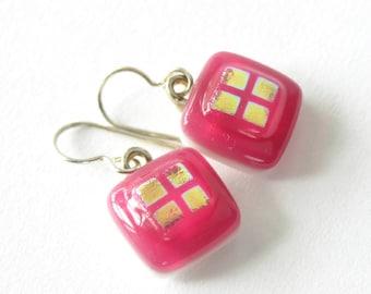 Little Pink Lovelies - Small Fused Glass Drop Earrings - Think Pink - Azalea Pink or Sweet Summer Rose