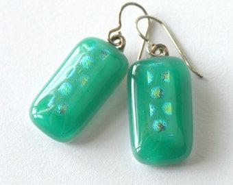 Apple Jade Green Fused Glass Earrings - Simple Elegance - Apple Green Glass Drop Earrings - Sterling Silver - Summer Garden Jewelry - Leaf
