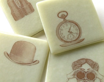 Steampunk . Gothic . Fused Glass Coasters . Bowler Hat . Sepia . Ivory Colored . Timepiece