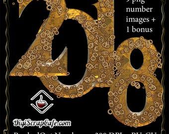 PunkedOut Steampunk Digital Numbers CU