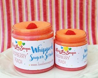 Whipped Sugar Scrub - Raspberry Peach, Foaming Sugar Scrub, Body Scrub, Body Whip, Whipped Scrub, Exfoliating Scrub, Body Frosting, Fruit