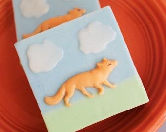 Fox Soap Bar - Animal Soap, Orange Soap, Cloud Soap, Kids Soap, Soap Favors, Kids Bath, Novelty Soap, Gift For Her, Gift For Him, Handmade