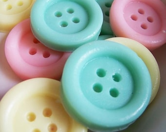 Cute as a Button Soap Set - Clean Cotton Scent, Baby Shower, Wedding Favors, Sewing Soap, Party Favors, Lalaloopsy Party, LoveLeeSoaps, Soap