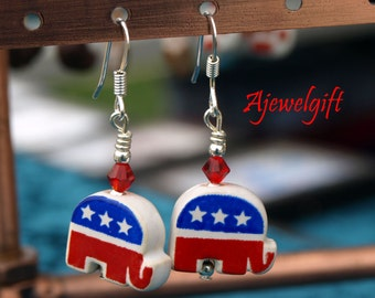 868eb6d080547 Patriotic Republican Elephant Earrings 12054