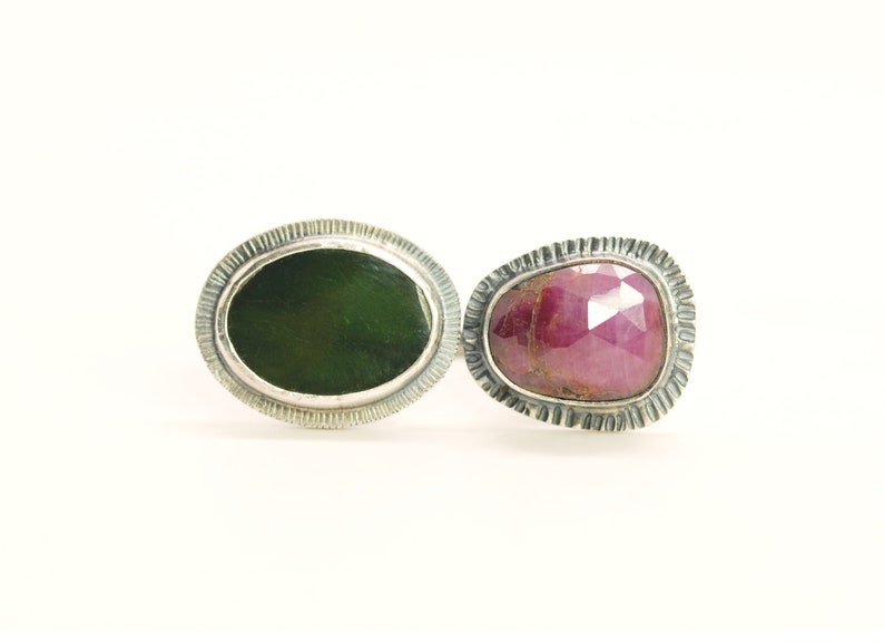 sterling silver sapphire and jade ring statement ring royal ring jade and purple rose cut sapphire double stone ring