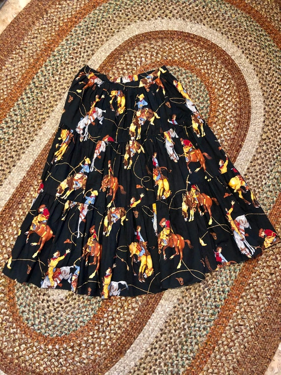 Amazing vintage 1980's/90's cowgirl print western… - image 5