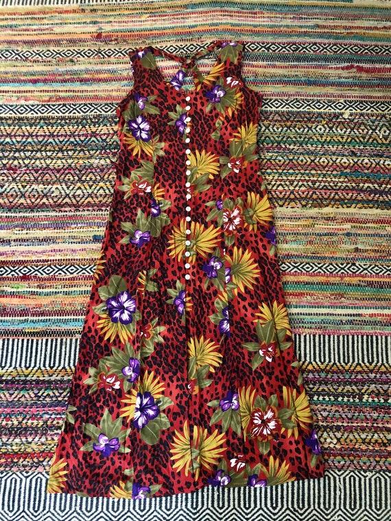 Hawaiian vintage 1990's floral dress women's size