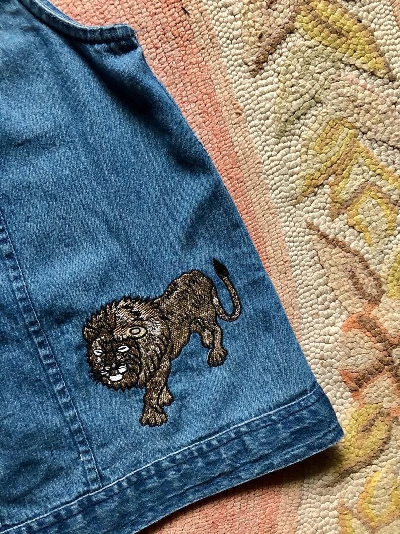 Rad 1990\u2019s vintage denim safari print denim button up tank top women\u2019s size largexlarge